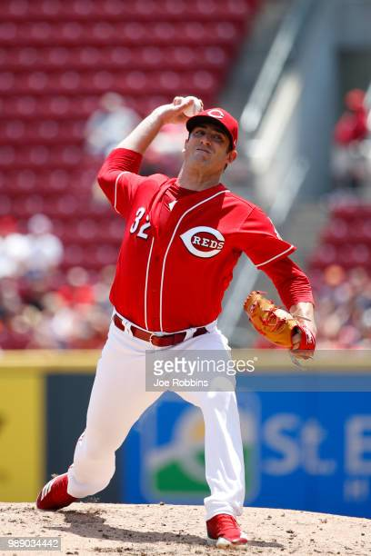 Matt Harvey of the Cincinnati Reds pitches in the second inning against the Milwaukee Brewers at Great American Ball Park on July 1 2018 in...