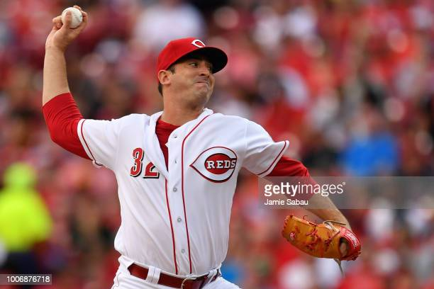 Matt Harvey of the Cincinnati Reds pitches in the third inning against the Philadelphia Phillies at Great American Ball Park on July 28 2018 in...
