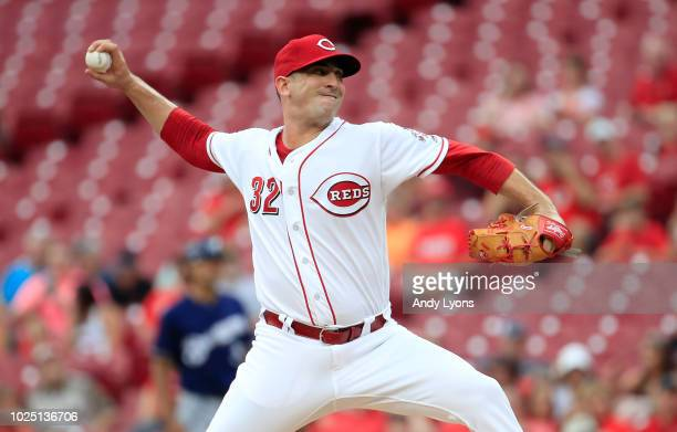 Matt Harvey of the Cincinnati Reds throws a pitch against the Milwaukee Brewers at Great American Ball Park on August 29 2018 in Cincinnati Ohio