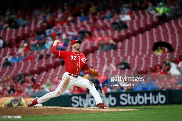 Matt Harvey of the Cincinnati Reds throws a pitch against the San Diego Padres in the first inning at Great American Ball Park on September 8 2018 in...