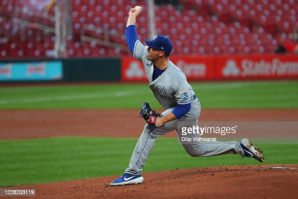 Matt Harvey of the Kansas City Royals delivers a pitch against the St. Louis Cardinals in the first inning at Busch Stadium on August 25, 2020 in St...