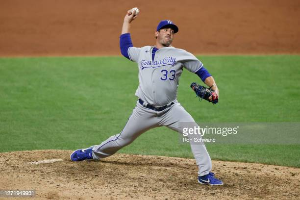 Matt Harvey of the Kansas City Royals pitches against the Cleveland Indians during the ninth inning at Progressive Field on September 10, 2020 in...