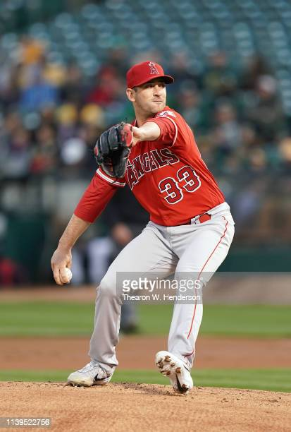 Matt Harvey of the Los Angeles Angels of Anaheim pitches against the Oakland Athletics in the bottom of the first inning of a Major League Baseball...