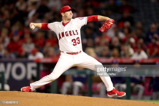 Matt Harvey of the Los Angeles Angels of Anaheim pitches during the second inning in the home opener against the Texas Rangers at Angel Stadium of...