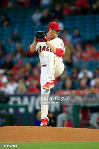 Matt Harvey of the Los Angeles Angels of Anaheim pitches during the first inning of a game against the Milwaukee Brewers at Angel Stadium of Anaheim...