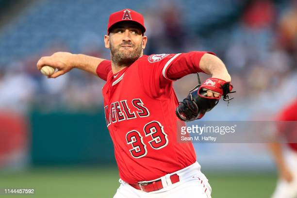 Matt Harvey of the Los Angeles Angels of Anaheim pitches during the first inning of a game against the New York Yankees at Angel Stadium of Anaheim...