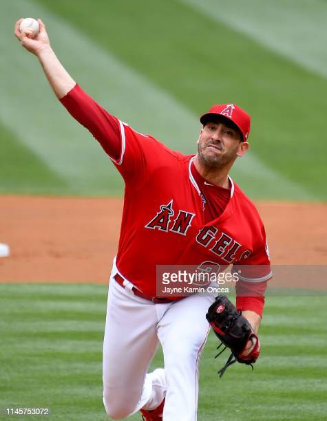 Matt Harvey of the Los Angeles Angels of Anaheim pitches in the first inning of the gameagainst the Minnesota Twins at Angel Stadium of Anaheim on...