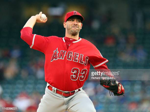 Matt Harvey of the Los Angeles Angels pitches in the second inning against the Texas Rangers at Globe Life Park in Arlington on April 17 2019 in...