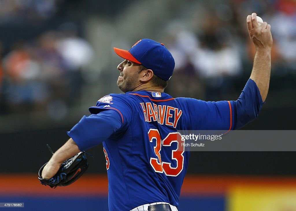 Matt Harvey #33 of the New York Mets delivers a pitch against the Miami Marlins during the second inning on May 29, 2015 at Citi Field in the Flushing neighborhood of the Queens borough of New York City.