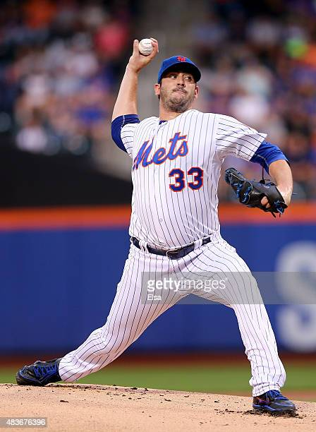 Matt Harvey of the New York Mets delivers a pitch in the first inning against the Colorado Rockies on August 11 2015 at Citi Field in the Flushing...