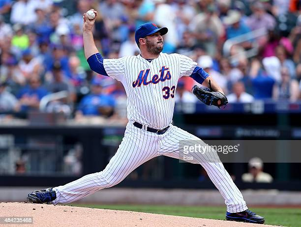Matt Harvey of the New York Mets delivers a pitch in the first inning against the Pittsburgh Pirates on August 16 2015 at Citi Field in the Flushing...