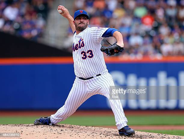 Matt Harvey of the New York Mets delivers a pitch in the second inning against the Pittsburgh Pirates on August 16 2015 at Citi Field in the Flushing...