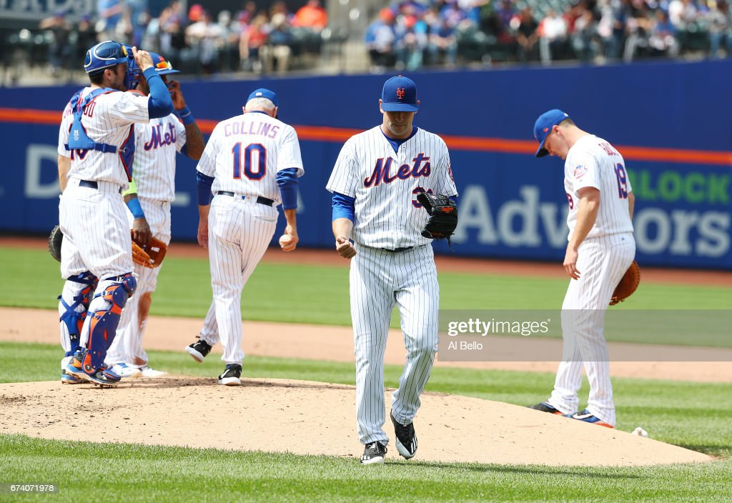 Matt Harvey #33 of the New York Mets leaves the game in the fifth inning against the Atlanta Braves during their game at Citi Field on April 27, 2017 in New York City.