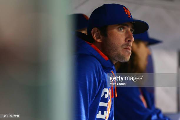 Matt Harvey of the New York Mets looks on from the dugout during the fourth inning against the San Francisco Giants at Citi Field on May 9 2017 in...