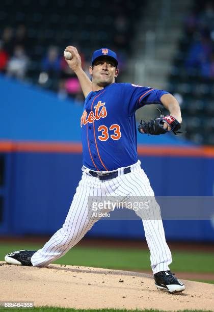Matt Harvey of the New York Mets pitches against the Atlanta Braves during their game at Citi Field on April 6 2017 in New York City