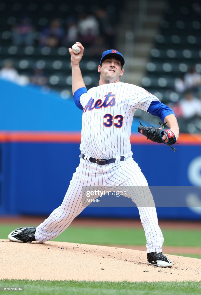 Matt Harvey #33 of the New York Mets pitches against the Atlanta Braves during their game at Citi Field on April 27, 2017 in New York City.