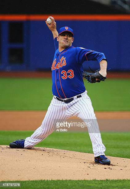 Matt Harvey of the New York Mets pitches against the Cincinnati Reds during their game at Citi Field on June 27 2015 in New York City