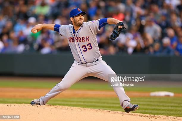 Matt Harvey of the New York Mets pitches against the Colorado Rockies at Coors Field on May 13 2016 in Denver Colorado