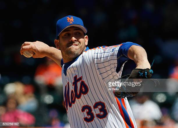 Matt Harvey of the New York Mets pitches against the Philadelphia Phillies during their game at Citi Field on April 10 2016 in New York City