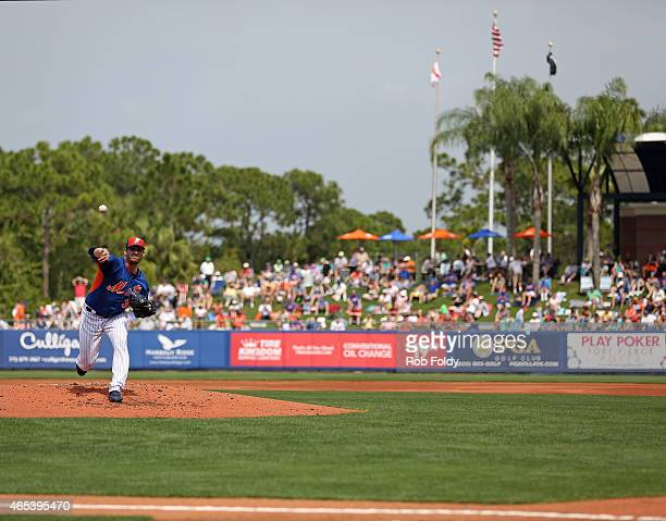 Matt Harvey of the New York Mets pitches before the second inning of the game against the Detroit Tigers at Tradition Field on March 6 2015 in Port...