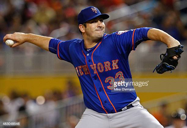 Matt Harvey of the New York Mets pitches during a game against the Miami Marlins at Marlins Park on August 5 2015 in Miami Florida