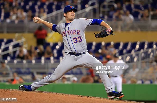 Matt Harvey of the New York Mets pitches during a game against the Miami Marlins at Marlins Park on September 18, 2017 in Miami, Florida.