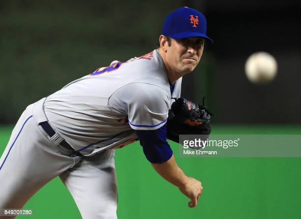 Matt Harvey of the New York Mets pitches during a game against the Miami Marlins at Marlins Park on September 18 2017 in Miami Florida