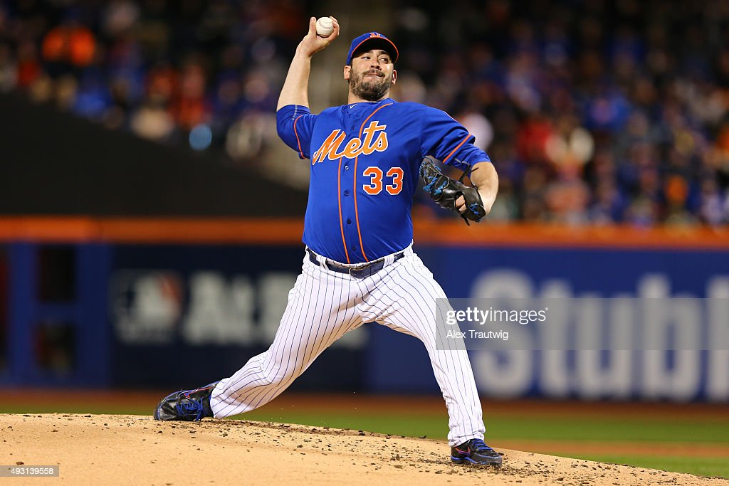 Matt Harvey #33 of the New York Mets pitches during Game 1 of the NLCS against the New York Mets at Citi Field on Saturday, October 17, 2015 in the Queens borough of New York City. (Photo by Alex Trautwig/MLB Photos via Getty Images) *** Local Caption)