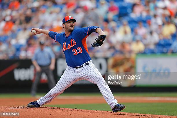 Matt Harvey of the New York Mets pitches during the first inning of the game against the Detroit Tigers at Tradition Field on March 6 2015 in Port St...