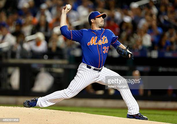 Matt Harvey of the New York Mets pitches during the first inning against the New York Yankees at Citi Field on September 20 2015 in the Queens...