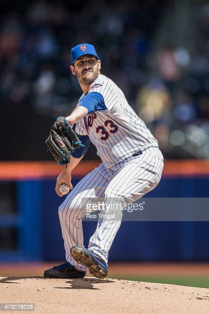 Matt Harvey of the New York Mets pitches during the game against the Miami Marlins at Citi Field on Sunday April 19 2015 in the Queens borough of New...