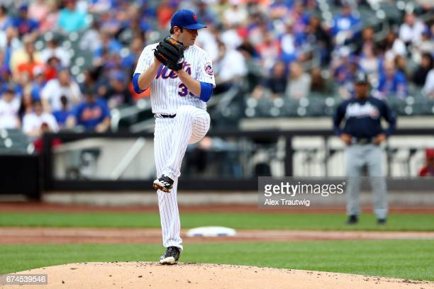 Matt Harvey of the New York Mets pitches during the game against the Atlanta Braves at Citi Field on Thursday April 27 2017 in the Queens borough of...