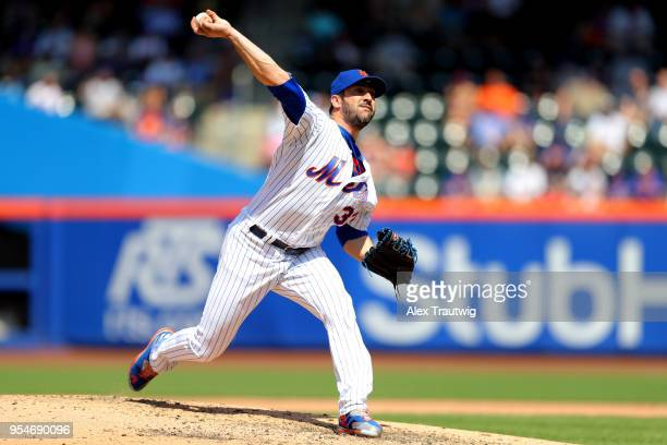 Matt Harvey of the New York Mets pitches during the game against the Atlanta Braves at Citi Field on Thursday May 3 2018 in the Queens borough of New...