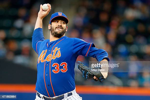 Matt Harvey of the New York Mets pitches in the first inning against the Washington Nationals at Citi Field on May 1 2015 in the Flushing...