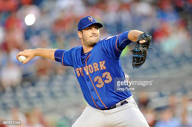 Matt Harvey of the New York Mets pitches in the first inning against the Washington Nationals at Nationals Park on September 8 2015 in Washington DC