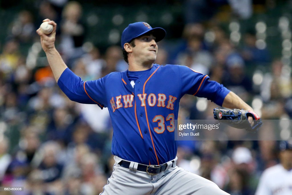 Matt Harvey #33 of the New York Mets pitches in the first inning against the Milwaukee Brewers at Miller Park on May 12, 2017 in Milwaukee, Wisconsin.
