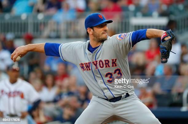 Matt Harvey of the New York Mets pitches in the first inning against the Atlanta Braves at SunTrust Park on June 9 2017 in Atlanta Georgia