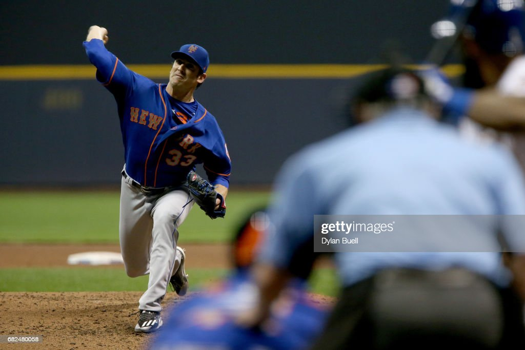Matt Harvey #33 of the New York Mets pitches in the fourth inning against the Milwaukee Brewers at Miller Park on May 12, 2017 in Milwaukee, Wisconsin.
