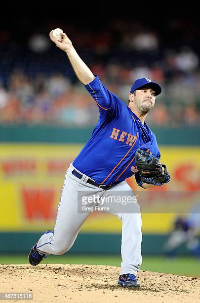 Matt Harvey of the New York Mets pitches in the second inning against the Washington Nationals at Nationals Park on September 8 2015 in Washington DC