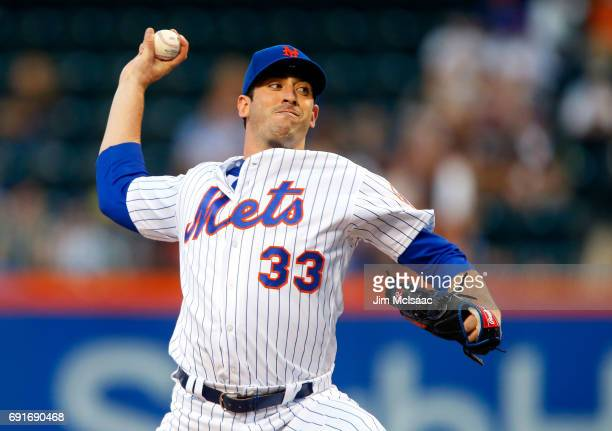 Matt Harvey of the New York Mets pitches in the second inning against the Pittsburgh Pirates at Citi Field on June 2, 2017 in the Flushing...