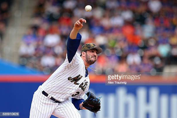 Matt Harvey of the New York Mets pitches in the second inning during the game against the Chicago White Sox at Citi Field on Monday May 30 2016 in...