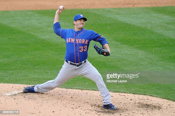 Matt Harvey of the New York Mets pitches in the sixth inning during a baseball against the Washington Nationals at Nationals Park on April 9 2015 in...