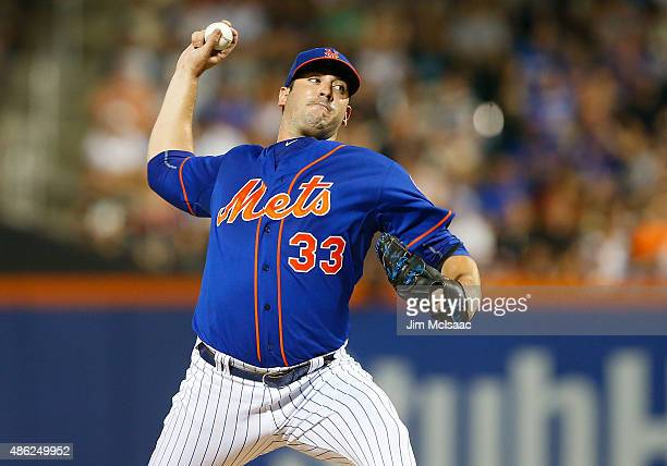 Matt Harvey of the New York Mets pitches in the third inning against the Philadelphia Phillies at Citi Field on September 2 2015 in the Flushing...