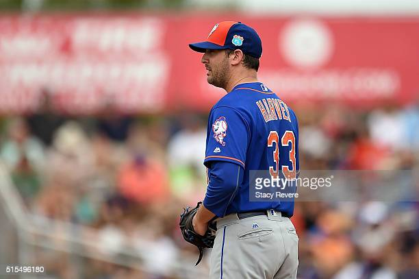 Matt Harvey of the New York Mets prepares to throw a pitch during a spring training game against the Miami Marlins at Roger Dean Stadium on March 13...