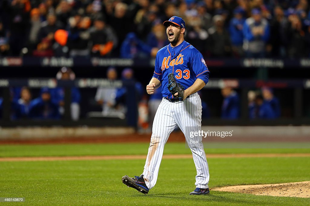 Matt Harvey #33 of the New York Mets reacts after closing out the top of the seventh inning against the Chicago Cubs during game one of the 2015 MLB National League Championship Series at Citi Field on October 17, 2015 in the Flushing neighborhood of the Queens borough of New York City.