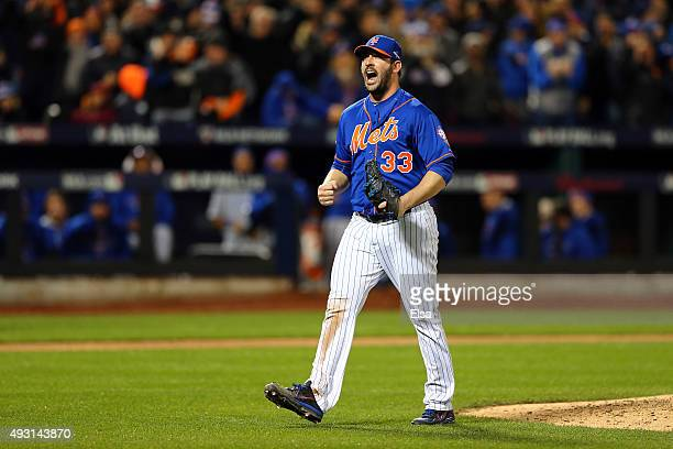 Matt Harvey of the New York Mets reacts after closing out the top of the seventh inning against the Chicago Cubs during game one of the 2015 MLB...