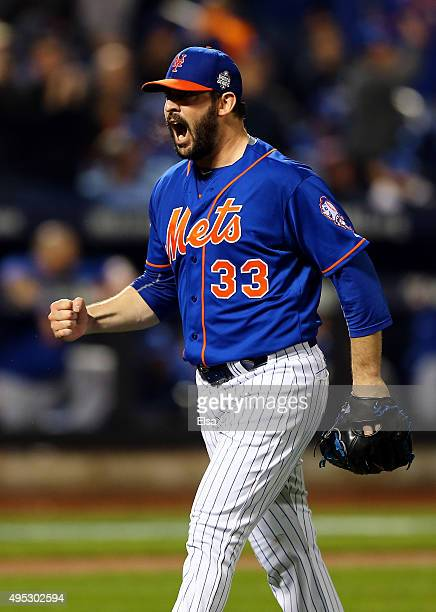 Matt Harvey of the New York Mets reacts after retiring the side in the seventh inning against the Kansas City Royals during Game Five of the 2015...