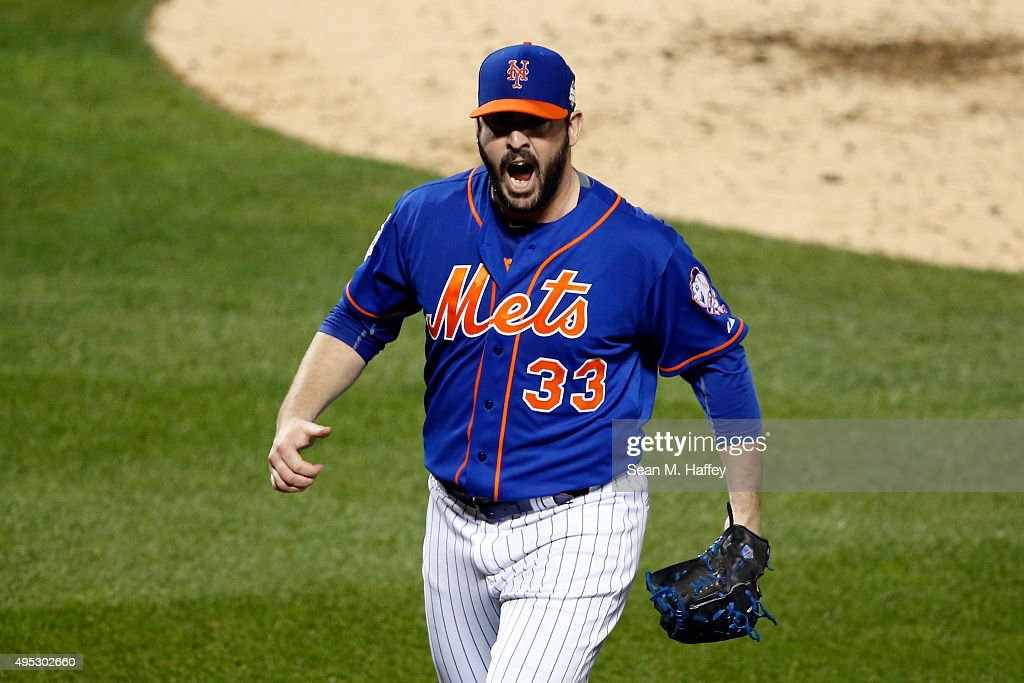 Matt Harvey #33 of the New York Mets reacts after retiring the side in the seventh inning against the Kansas City Royals during Game Five of the 2015 World Series at Citi Field on November 1, 2015 in the Flushing neighborhood of the Queens borough of New York City.