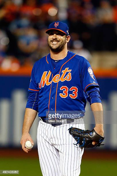 Matt Harvey of the New York Mets reacts against the Los Angeles Dodgers during game three of the National League Division Series at Citi Field on...