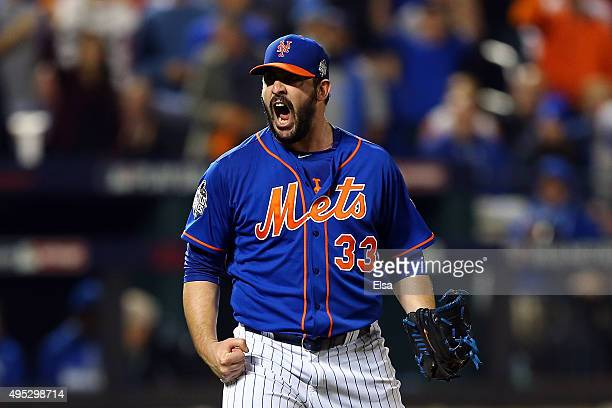 Matt Harvey of the New York Mets reacts to striking out the side in the fourth inning against the Kansas City Royals during Game Five of the 2015...